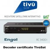 TivuSat Engel RC3400I - El decodificador Engel RC3400i est� certificado por Tivusat.