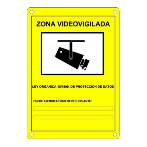 Cartel de plástico Videovigilancia - Cartel Homologado Serigrafiado Zona Videovigilada