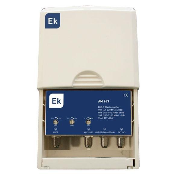 Amplificador de mástil 3 entradas VHF-UHF-SAT - AM 263 L - Amplificador de mástil 3 entradas: VHF-UHF (47-230 / 470-862 MHz) / UHF (470-862 MHz) / SAT (950-2200 MHz)