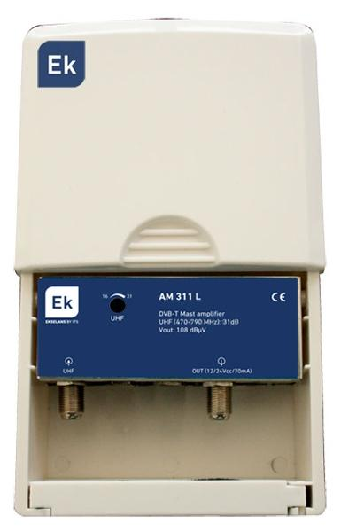 Amplificador de mástil EKSELANS 1 entrada UHF - AM311L - Amplificador de mástil EKSELANS con rechazo de banda Lte. 1 entrada: UHF (470-790 MHz).