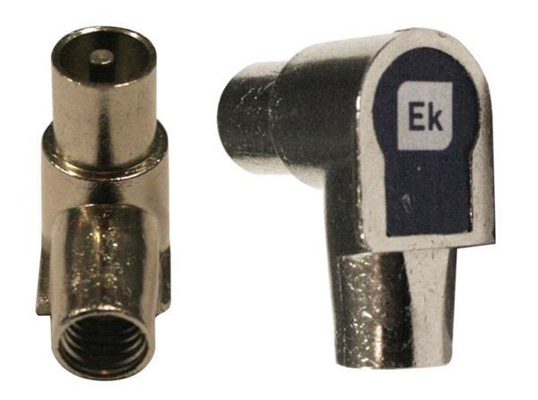 Conector Blindado IEC 9,5mm Macho acodado clase A EKSELANS - Conector IEC 9,5mm macho acodado clase A para cable 6,9 mm
