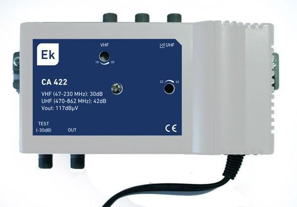 Central amplificadora 2 entradas: VHF / UHF EKSELANS - CA422L - Central amplificadora 2 entradas: VHF (47-230 MHz) / UHF (470-862 MHz). G: 30dB (VHF) / 40dB (UHF). Nivel de salida (DIN 45004B): 117dBuV. Con paso de corriente DC en entrada UHF. Clase A