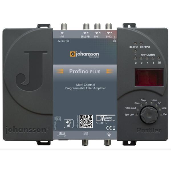 Johansson Profino 6611 L Central Programable - Amplificador de filtro programable  de 4 entradas con 2 entradas UHF.
