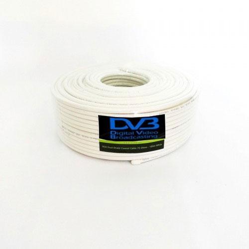 Cable Coaxial Antena TV Satélite y TDT (100m) -  Bobina de 100 metros color blanco indicado para todo tipo de instalaciones Satélite y TDT. Un cable profesional a precio muy económico.