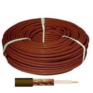 100 m Cable coaxial marrón 18 dBs / 800MHz - Cable Coaxial Marron RG6, Vivo de Acero Recubierto de Cobre, Malla y Cinta de Aluminio-Poliéster.