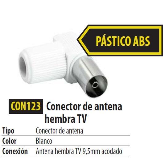 Conector IEC Hembra Acodado para cable RG6