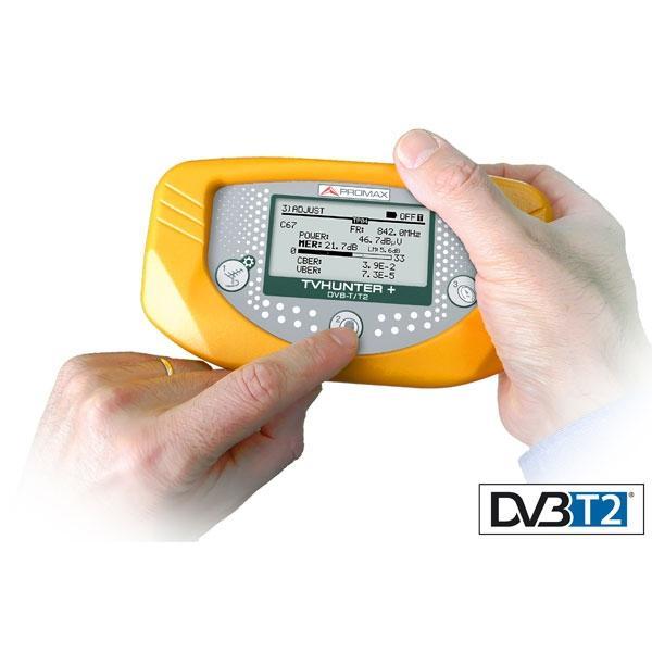 PROMAX TVHUNTER+ DVB-T2 - El TVHUNTER+ es un medidor portátil de fácil manejo, que ha sido diseñado para cubrir los sistemas de instalación de Televisión Digital Terrestre DVB-T y DVB-T2.