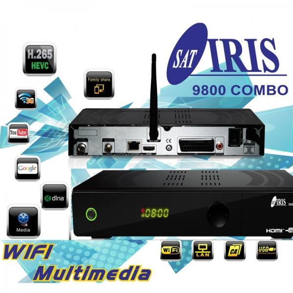 IRIS 9800 HD Combo Wifi + HDMI 4K - Receptor Satélite en Alta Definición compatible con el estándar FHD-H265 y HEVC con WIFI y PVR.