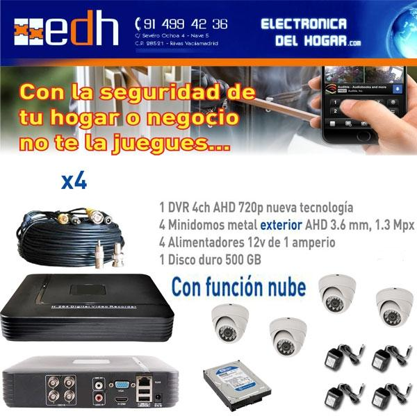 Kit VideoVigilancia HD DOMO Hogar y Negocio Seguridad 24 horas - Seguridad 24 horas. Homologado para Seguridad Activa