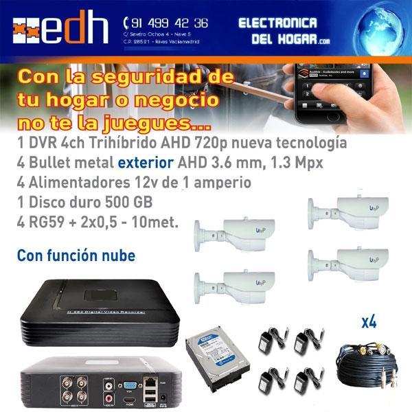 Kit VideoVigilancia HD Bullet Hogar y Negocio Seguridad 24 horas