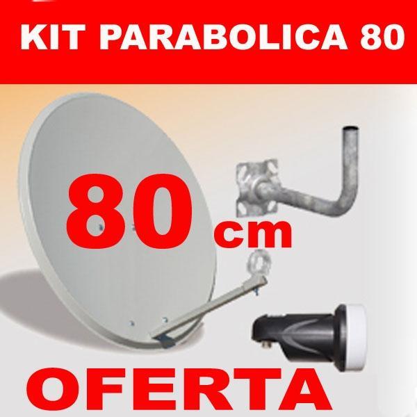 Kit Antena Parabólica 80 cm - Parabólica de 80 cm + LNB y Soporte Pared