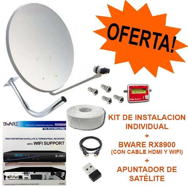Pack Bware RX8900 + Kit 60cm + Apuntador satélite - Pack de receptor satélite Bware RX8900 + Kit Completo Parabólica 60cm + Apuntador satélite