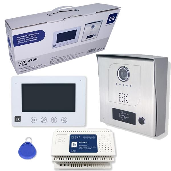 Kit Videoportero Unifamiliar Monitor Placa exterior con RFID y llaves - Sistema de dos hilos no polarizados. Ampliable a dos placas de calle y tres monitores.