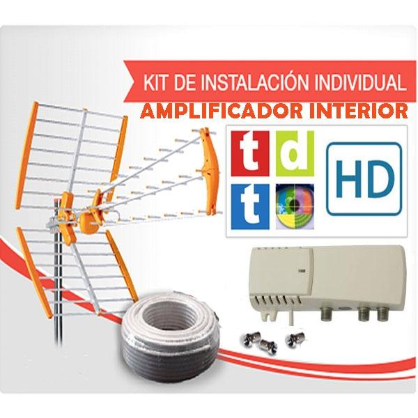 Kit individual antena TDT con amplificador Interior - Instalación individual de televisión TDT con amplificador de interior