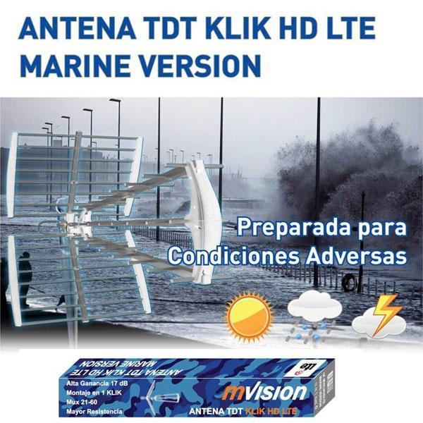 Antena TDT Marine KLIK HD LTE - 17 dB  - Ideal para recepción de Televisión Digital Terrestre (HD)