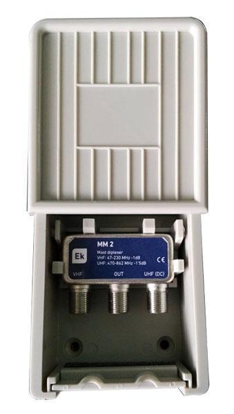 Mezclador MM 2 L Exterior 2 Entradas VHF/UHF - Mezclador para instalación exterior EKSELANS. 2 entradas