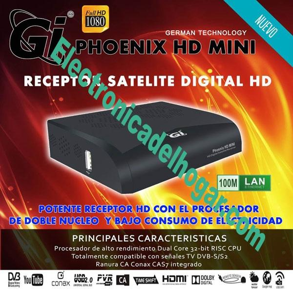 Gi PHOENIX HD MINI - Receptor Satélite con Procesador dual Core y aplicaciones de Internet: YouTube, WeatherForecast, GoogleMaps, RSS, KartinaTV, WebTV, DLNA, Big2Small ...