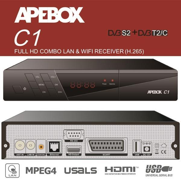 APEBOX C1 Receptor Satélite HD Combo - Full HD Receptor Satélite + TDT con conexión LAN y Wifi (H265 HEVC)