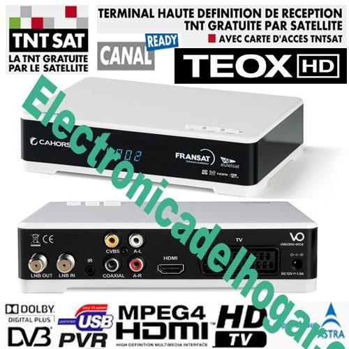 Receptor TNT SAT Cahors Teox HD + TARJETA 4 años (Astra 19,2) - RECEPTEUR TEOX HD SATELITE NUMERIQUE, POUR TNT FRANCE