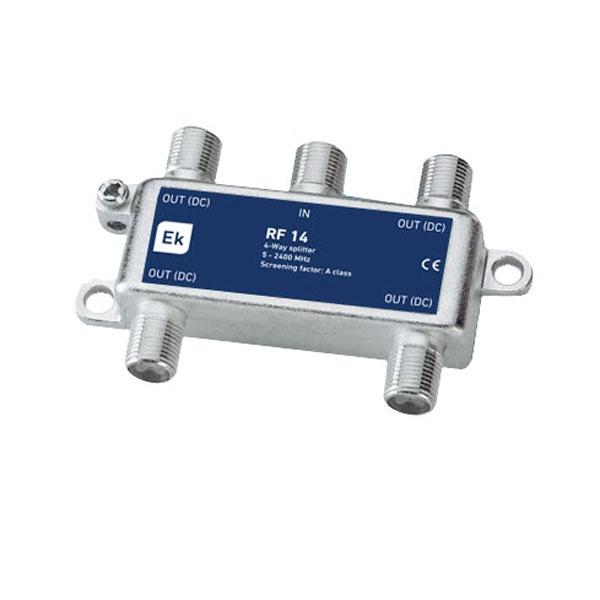 Repartidor clase A de 4 salidas RF 14 Clase A - Repartidor clase A de 4 salidas Banda de paso: 5-2400 MHz