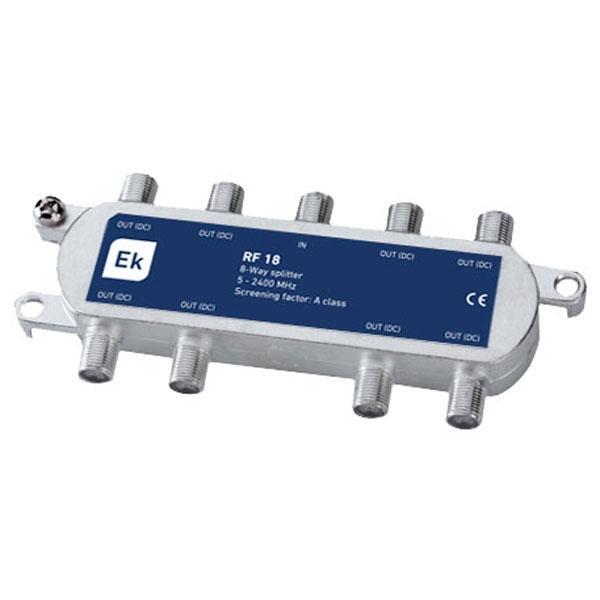 Repartidor clase A de 8 salidas RF 18 Clase A - Repartidor clase A de 8 salidas Banda de paso: 5-2400 MHz