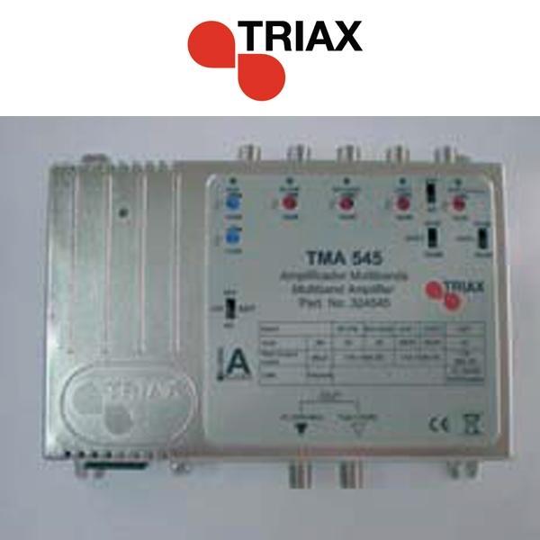 Amplificador TRIAX TMA 545 LTE - TMA 545 LTE Central multibanda. Ganancia 45 dB. Distribución de TV, Radio y Satélite. Compatible con TDT y FI . Dispone de 5 entradas RF (BI+FM; BIII+DAB; UHF1; UHF2 y SAT) y 1 salida con amplificación separada.
