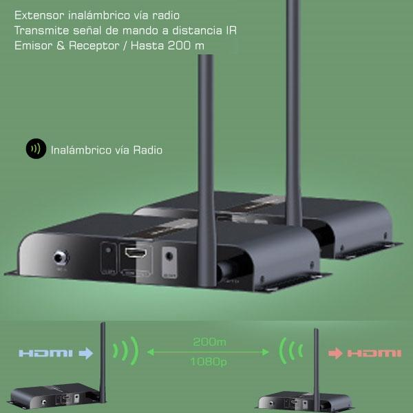 Transmisor inálambrico HD conexión HDMI 1080p - Transmisor de Audio / Video HD y mando a distancia.