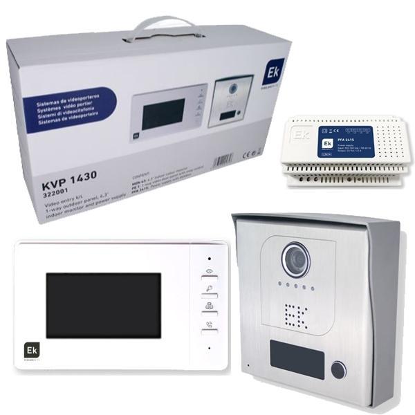 Kit Videoportero unifamiliar con placa de exterior - Kit con sistema dos hilos no polarizados, ampliable a dos placas y tres monitores.