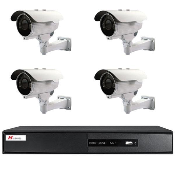 Kit Videovigilancia 4 Cámaras  con IR Exterior - Kit completo de videovigilancia 4 cámaras compactas con IR 800 líneas, lente 2.8~12 mm DVR 4 CH vídeo / 4 CH audio D1 (25FPS)