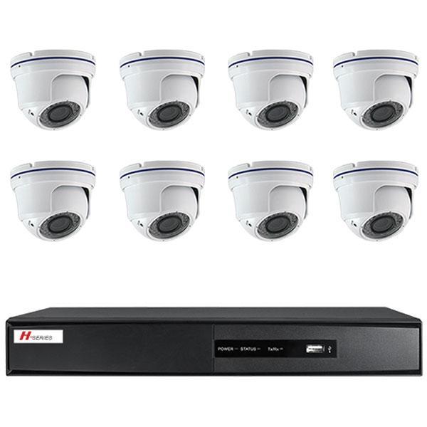 Kit Videovigilancia 8 Cámaras Domo IR interior - Kit completo de videovigilancia 8 cámaras domo IR antivandálicas 800 líneas, lente 2.8~12 mm DVR 8 CH vídeo / 4 CH audio 2CH@D1+6CH@CIF(25FPS) ó D1(15FPS)
