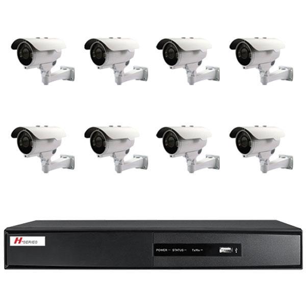 Kit Videovigilancia 8 Cámaras Compactas Con IR Exterior - Kit completo de videovigilancia 8 cámaras compactas con IR 800 líneas, lente 2.8~12 mm DVR 8 CH vídeo / 4 CH audio 2CH@D1+6CH@CIF(25FPS) ó D1(15FPS) Software CMS para acceso remoto