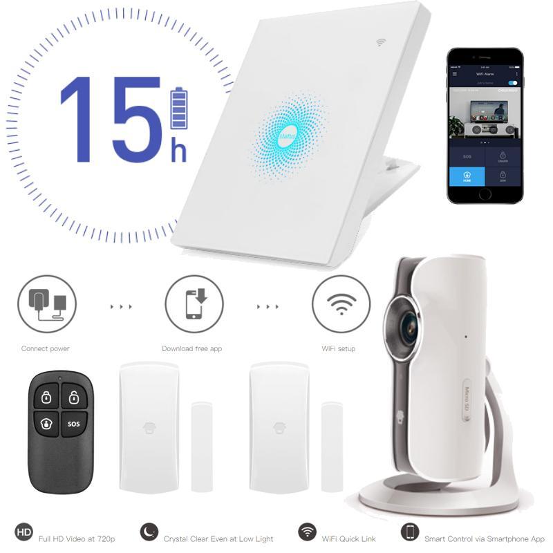 Smart Home Wifi AW PLUS Sistema de Alarma Hogar y Comercio - Sistema de alarma y Smart Home Wifi Panel Wifi con batería de respaldo 1 cámara IP Wifi 720p 2 contactos magnéticos puerta/ventana 1 mando control remoto Envío de notificaciones push