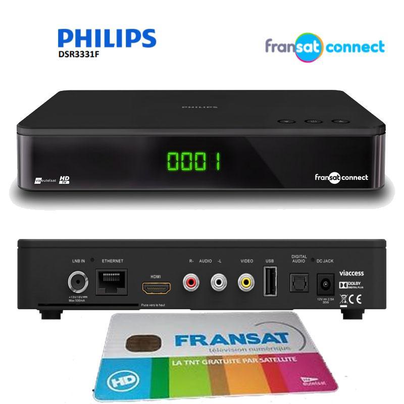 Receptor FRANSAT Philps Connect DSR3331F - Tdt HD por satélite + TARJETA (Eutelsat 5WA) - Receptor HD + Tarjeta Viaccess FRANSAT para la recepción de los canales gratuitos de la televisión tdt francesa (TNT)