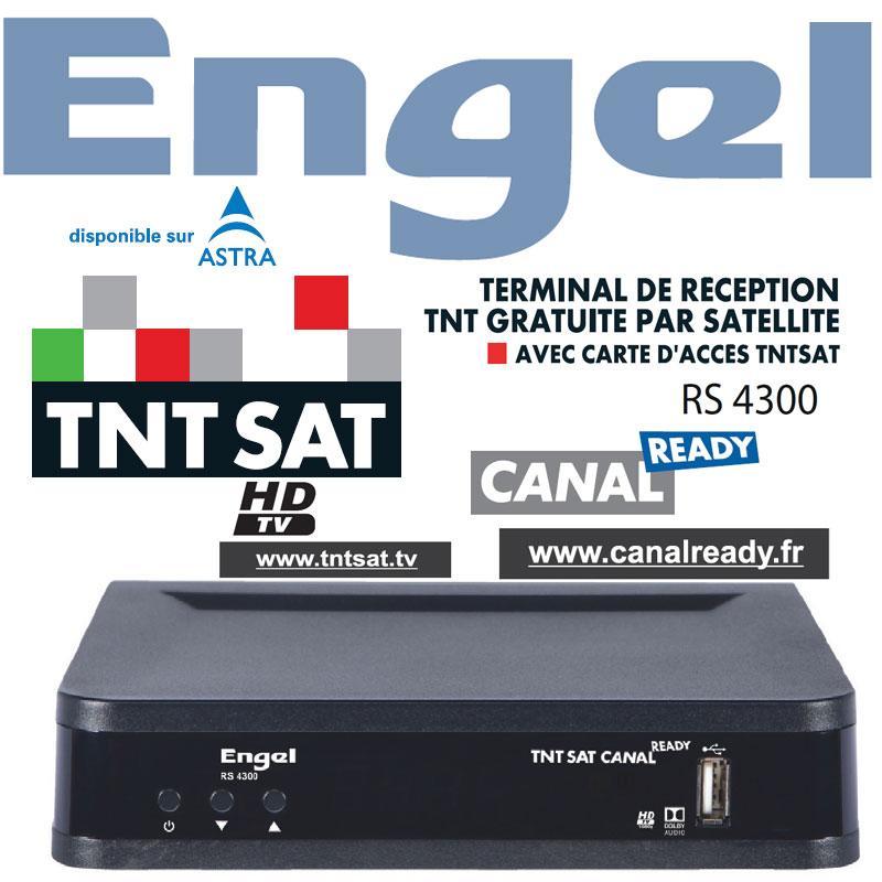 TNT SAT HDTV ENGEL RS 4300 + TARJETA 4 Años (Astra 19,2) - Récepteur Numérique TNTSAT HD CANAL READY avec carte daccès TNTSAT