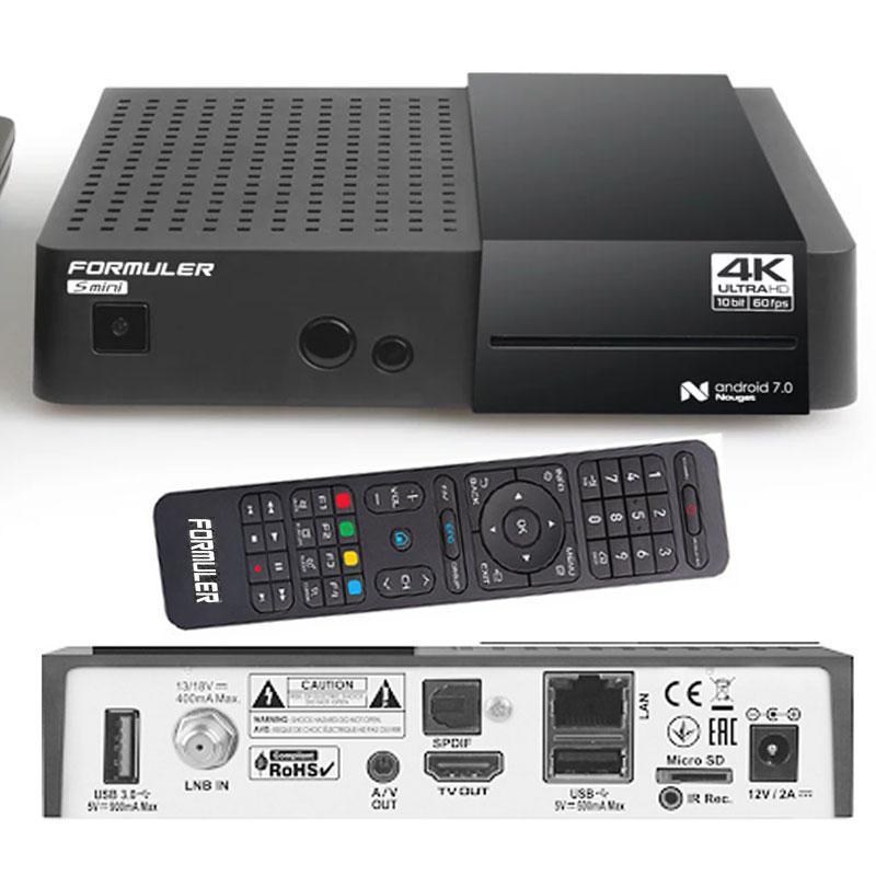 Formuler S Mini 4K UHD H265 Satellite & IPTV  - FORMULER S MINI es un receptor IPTV y Satélite muy compacto, con tecnología UHD 4K, decodificación HEVC H 265, antena WiFi interna y sistema operativo Android 7.0