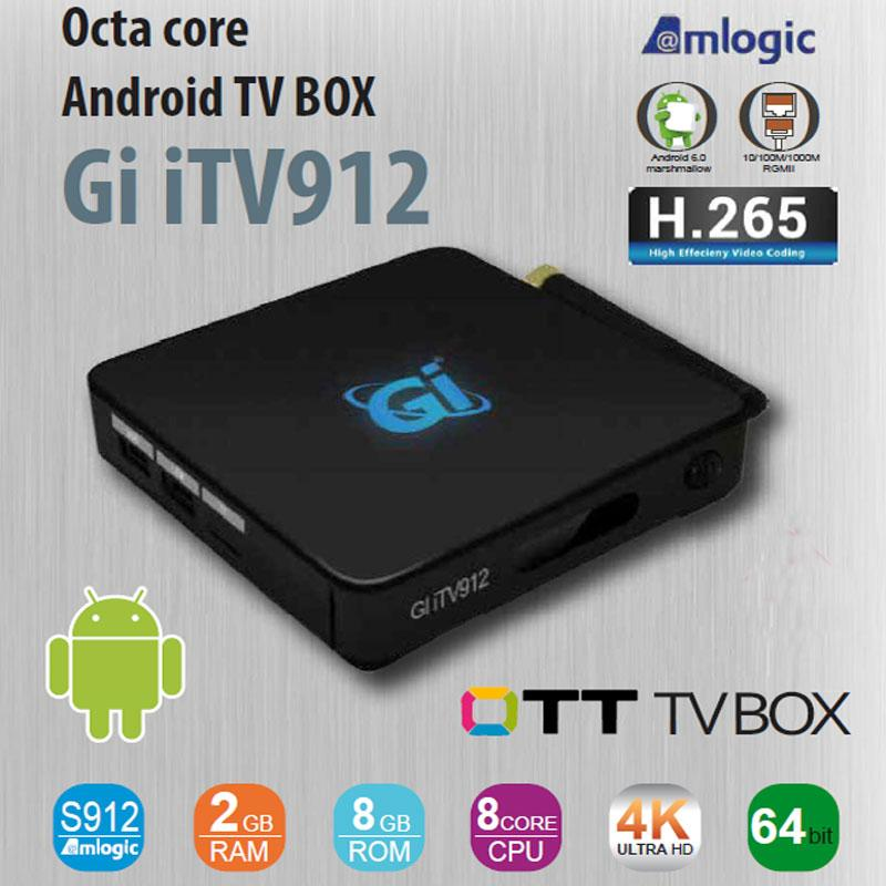 Receptor Android TV Box GI ITV912 ULTRA HD 4K - TV Box Octa-Core 64-bits - Ultra HD 4K - 2GB Ram - 8GB Rom - Procesador: Amlogic S912 - Compatible aplicaciones Google Play y DRM