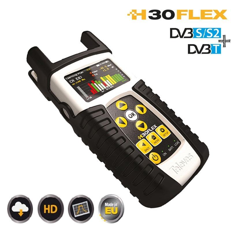 H30FLEX Medidor de Campo - El medidor H30FLEX es un completo equipo para el instalador fácil y cómodo de usar, con este Medidor de Señal podrás realizar todas las instalaciones de Satélite y TDT con un solo aparato de medida.
