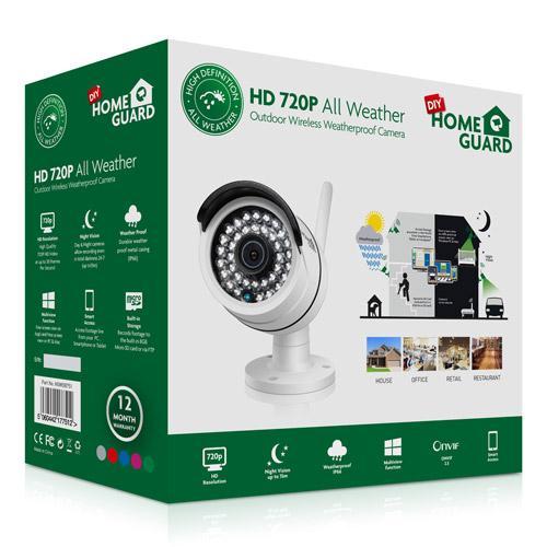 Cámara inalámbrica IP Exterior - La HomeGuard HD 720P Wireless Bullet Cámara All Weather es una cámara IP simple de usar 720P que puede ser convenientemente instalada dentro de la casa (dentro de la zona de alcance de su Internet) y controlada remotamente desde su PC, tablet o SmartPhone.