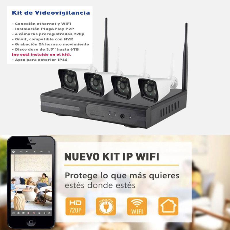 Kit Cámaras de Seguridad IP wifi - Grabador IP y 4 cámaras con resolución 1280×720 de gran calidad y visión nocturna.