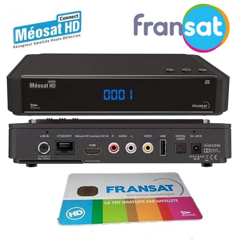 Receptor FRANSAT Connect Meosat + Tarjeta (Eutelsat 5WA) - Meosat Receptor satélite HD Fransat con Tarjeta incluida PC 6.0