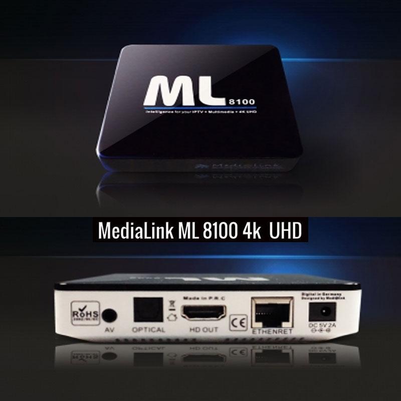 Medialink ML8100 IPTV 4K Full UHD ANDROID - Receptor IPTV con función MAG EMULATOR y plataforma PLEX. El más completo IPTV para aplicaciones en operadores, hoteles y usuarios finales.
