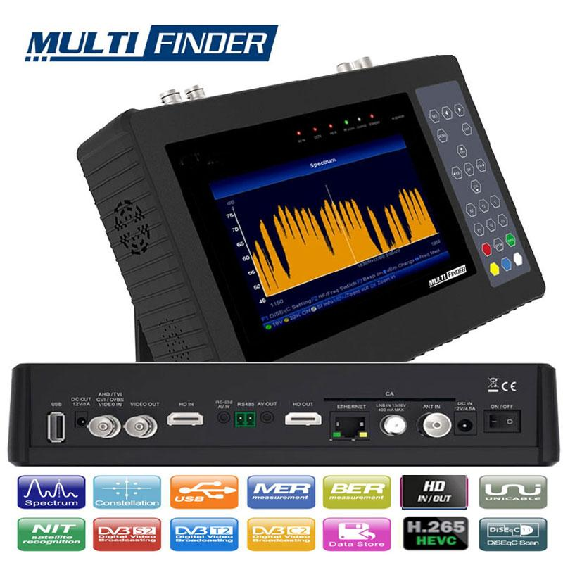 MULTIFINDER Medidor de Campo DVB-S2 - T/T2 - C - H265 y CCTV - MEDIDOR COMBINADO HD, compatible con señales de Satélite DVB-S/S2, Digitales TV en T/T2/C. Compatible las videocamaras CCTV más utilizadas, como AHD / CVI / TVI / CVBS. Cuenta con decodificación de señal de TV H.265 / HEVC