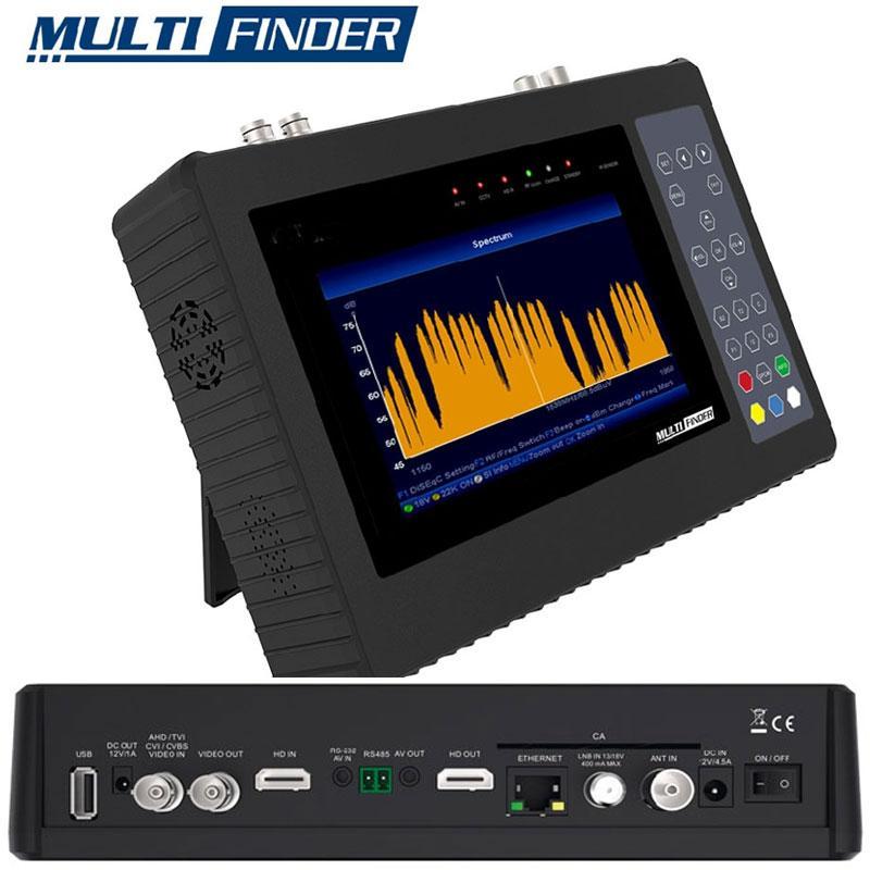 Multifinder Medidor de Campo DVB-S2 - T/T2 - C - H265 y CCTV - Multifinder Edision, Medidior de Campo HD multiprofesional, compatible con señales de Satélite DVB-S/S2, Digitales TV en T/T2/C. Compatible las videocamaras CCTV más utilizadas, como AHD / CVI / TVI / CVBS. Cuenta con decodificación de señal de TV H.265 / HEVC