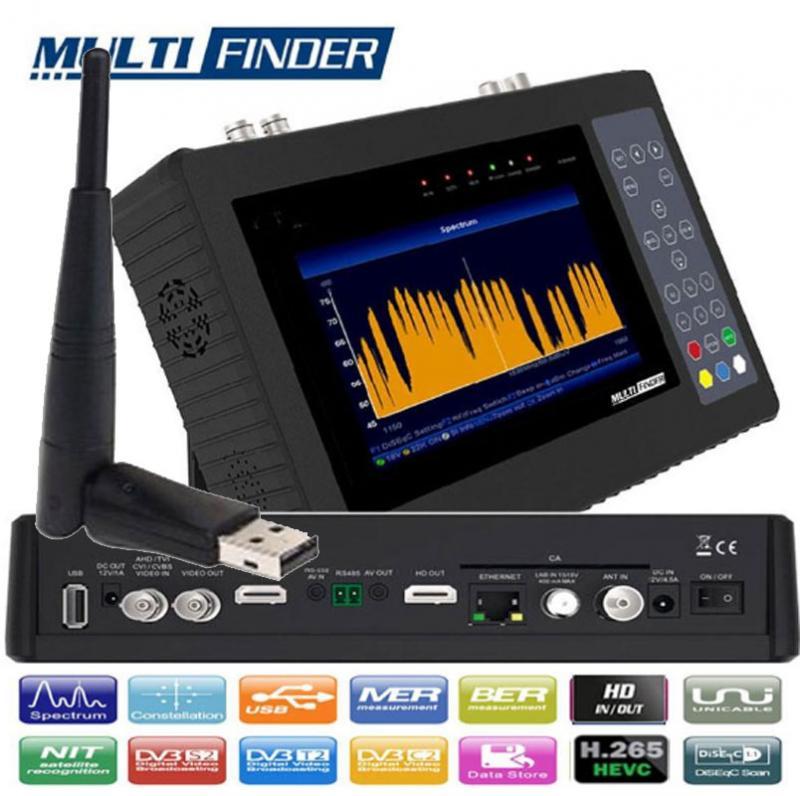 MULTIFINDER Wifi Medidor de Campo DVB-S2 - T/T2 - C - H265 y CCTV - MEDIDOR COMBINADO WIFI HD, compatible con señales de Satélite DVB-S/S2, Digitales TV en T/T2/C. Compatible las videocamaras CCTV más utilizadas, como AHD / CVI / TVI / CVBS. Cuenta con descodificación de señal de TV H.265 / HEVC