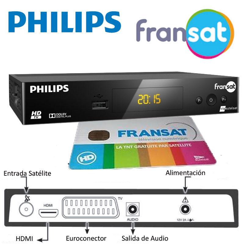 Receptor FRANSAT PHILIPS DSR 3031F + TARJETA (Eutelsat 5WA) - Receptor Fransat HD PHILIPS DSR 303IF ideal para recibir gratuitamente canales franceses HD