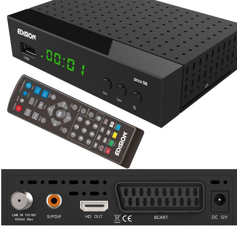 EDISION PICCO S2 Receptor Satélite HEVC H265 - Compacto sintonizador satélite con lector de tarjetas DVB-S y S2.