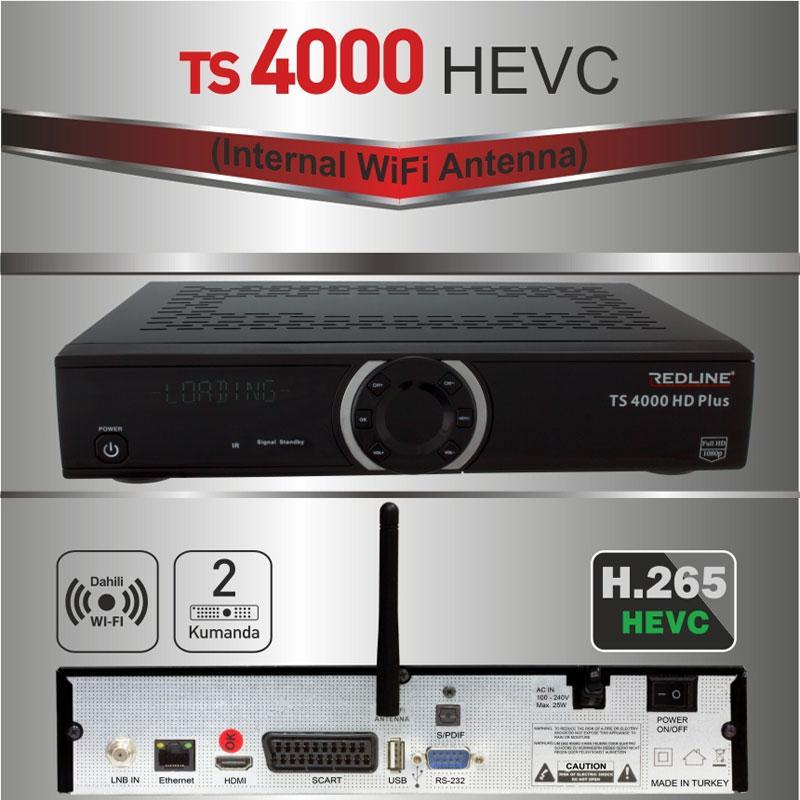Redline TS 4000 HD Plus Receptor Satélite HEVC - Receptor Satélite de última generación H265 con Antena Wifi interna y canales IPTV.