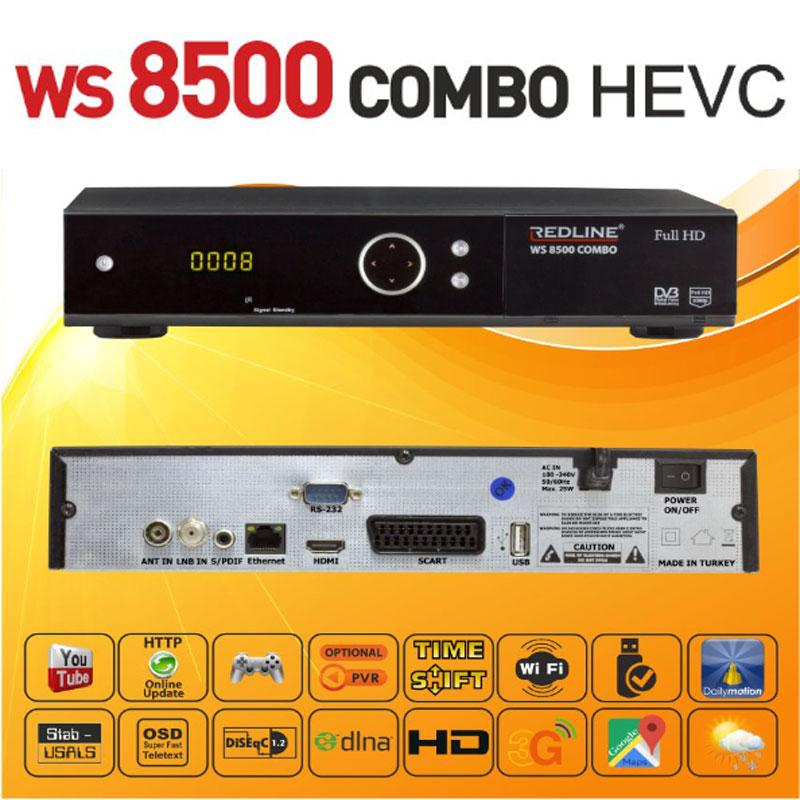 Redline WS 8500 Combo HD WIFI Receptor Satélite + Cable HDMI - Receptor Satélite con TDT y Canales IPTV con compresión HEVC mejorada.
