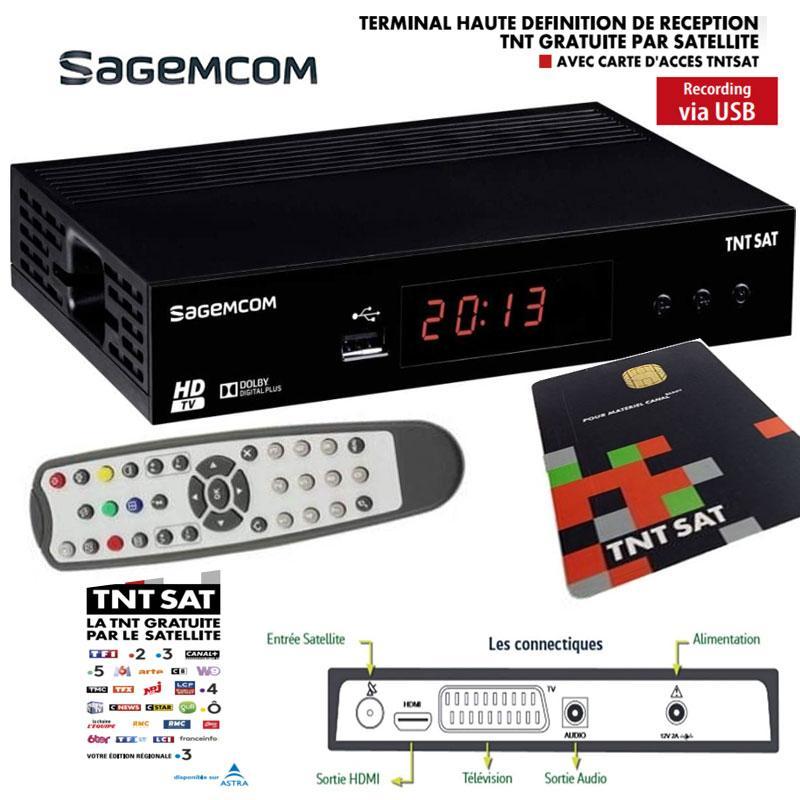Receptor TNT SAT Sagemcom DS81 HD + Tarjeta TDT Sat V6