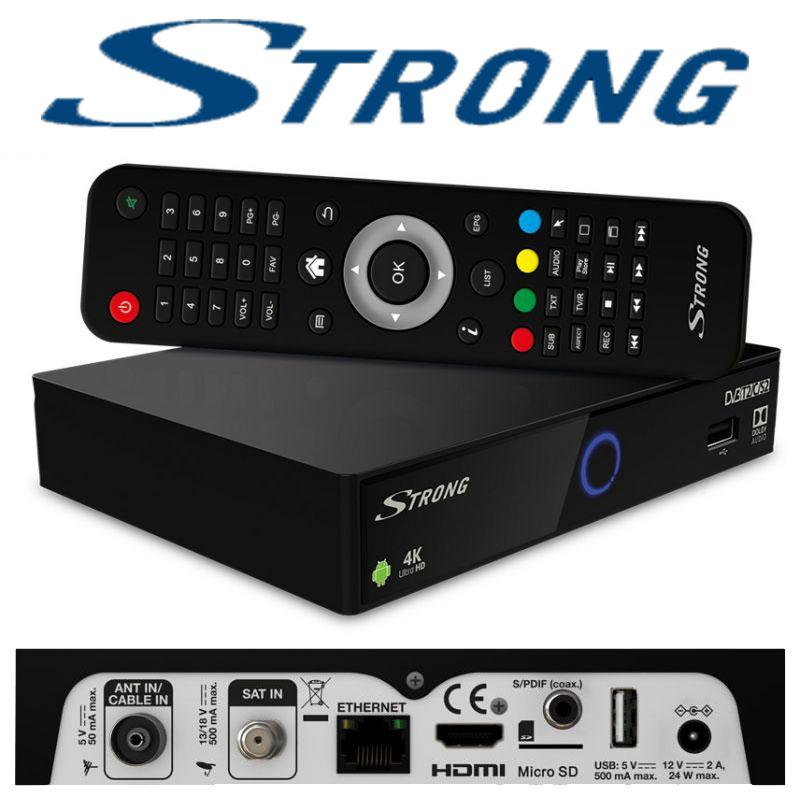 Strong SRT 2402 Receptor IP de Android & OTT 4K Ultra HD H.265